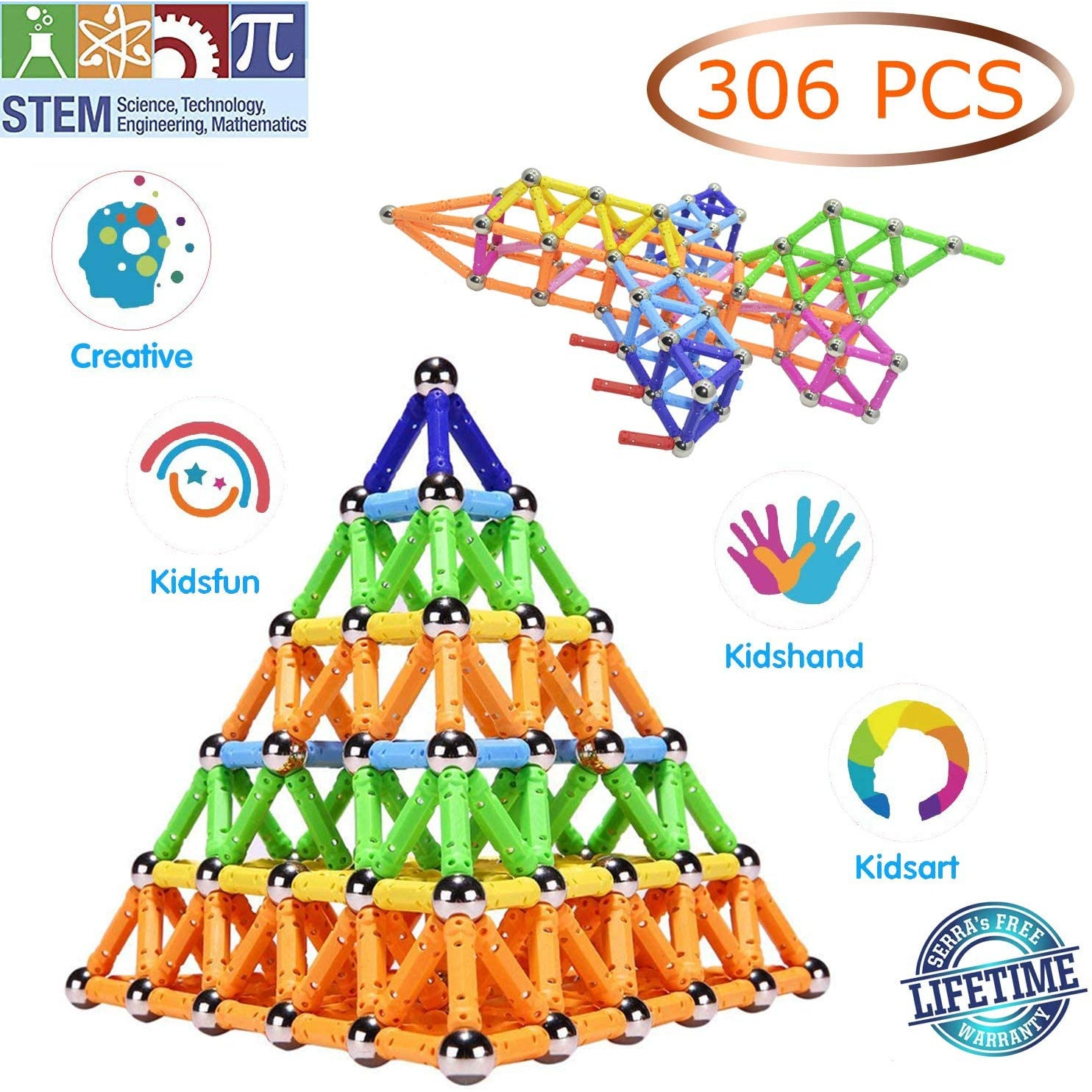 Veatree 306 Pieces Magnetic Sticks Building Blocks Toys, Magnet Construction Build Kit Education Toys 3D Puzzle for Kids and Adult, Playing Stacking Game with Magnetic Sticks and Balls, Color Random
