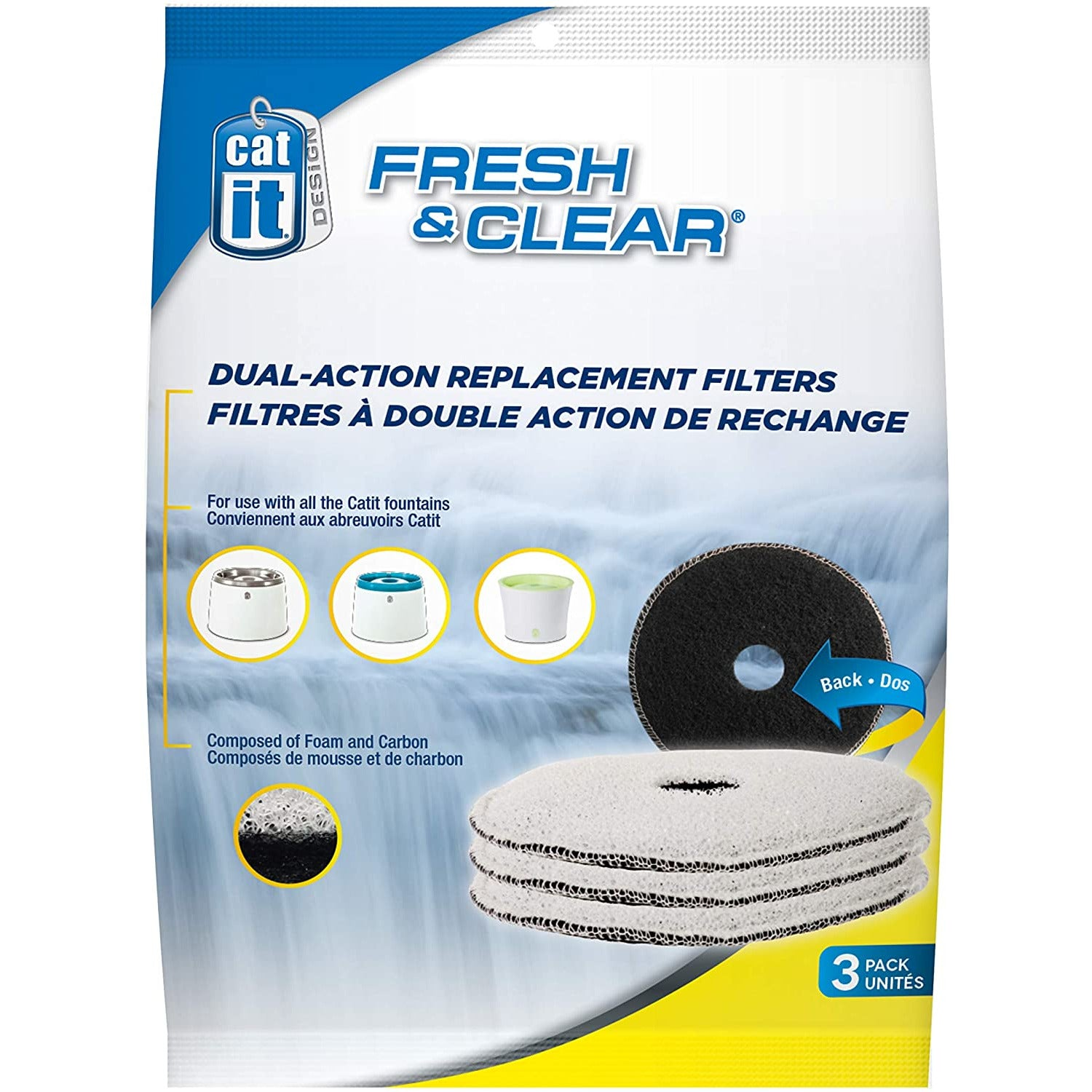 Catit Design Fresh and Clear Replacement Filters for Cat Water Fountain (Pack of 3)