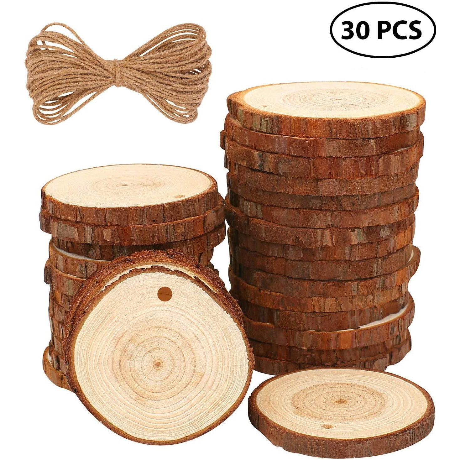 Natural Wood Slices 30 Pcs 6-7cm Drilled Hole Unfinished Log Wooden Circles for DIY Crafts Wedding Decorations Christmas Ornaments