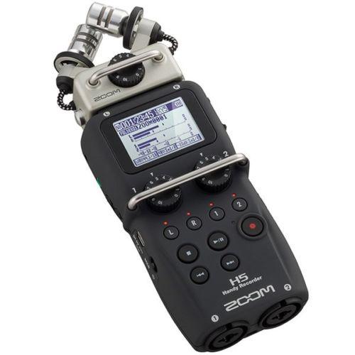 Zoom H5 Handy Portable Digital Audio Recorder with Interchangeable Microphone System -Four-track simultaneous recording , Four Simultaneous Inputs , Includes XY Microphone Module , Record up to 24-bit/96kHz Audio , Doubles as USB Audio Interface , Large backlit LCD display, Uses SD or SDHC Memory Cards up to Max 32GB –Not Included , Retail Box, 1 year Limited warranty