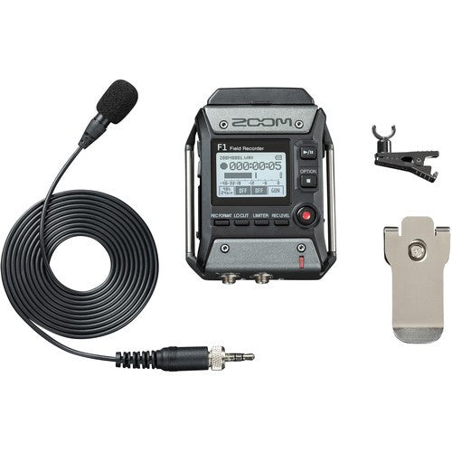 Zoom F1 Field Recorder with Lavalier Microphone-2-Channel Field Audio Recorder , LMF-1 Omnidirectional Lavalier Microphone , 1.25 inch Monochrome LCD display , One-touch button controls, 24-Bit/96 kHz Audio, WAV and MP3,Records Directly To Micro SD and SDHC Cards , Requires 2 X AAA Batteries, Retail Box, 1 year Limit warranty