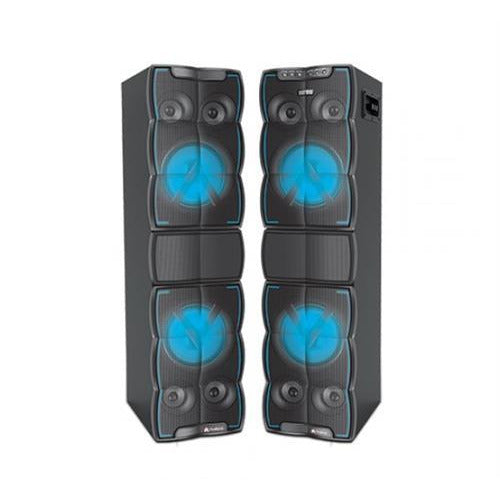 Audionic DJ 200 Stereo Party Speaker System with Bluetooth-2.0 Channel Stereo, Output Power: 80W x 2, Bluetooth Range up to 10 Meters, 2x Karaoke Ports , Subwoofer 6.5 Inches X 4, Speakers 2.5 Inch X 8, AUX Input, LED Display, Micro SD Card Slot , USB Port, Remote Control, Wireless Microphone included, Retail Box , 1 year Limited Warranty