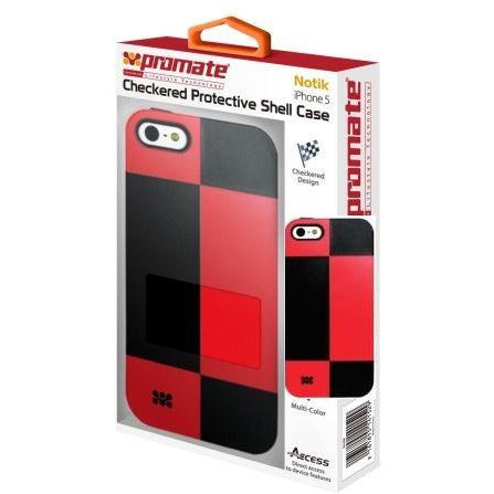 Promate Notik iPhone 5 Checkered Protective Shell Cover Colour: Red /Black Fashionably aimed, this UniQue checkered design protection case for iPhone 5 / 5s is in a class of its own. Complete with total protection, this cover provides a fresh look for your everyday iPhone 5 / 5s life. Perfect for the user who's lifestyle varies day and night. Total protection without compromising design and style, Notik simply is the case for you., Retail Box , 1 Year Warranty