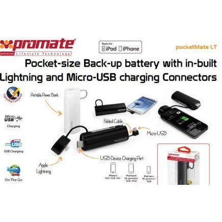 Promate Pocketmate LT Pocket-size Back-up battery with in-built Lightning and Micro-USB charging ( Portable power bank with three concealed interfaces:Apple charger, a micro-USB charger and a USB dock to power the device ) Connector for Ipod and Iphone,Power capacity: 2600mAh,Rated input: 5V/1A,Charging time: 3-4hours, colour:White, Retail Box, 1 Year Warranty