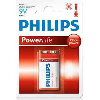 Philips Power Alkaline 6LR61P1B-97 9V / PP3 Battery Pack of 1 - 550mAh Capacity , Current: 2.1000A , up to 5 years shelf life – Extreme power for ultra-high-drain devices such as Remote Control Cars , Children's Toys , Portable Radios , Smoke Alarms, Telephones , Microphones -Pack of 1 , Retail Box , No Warranty