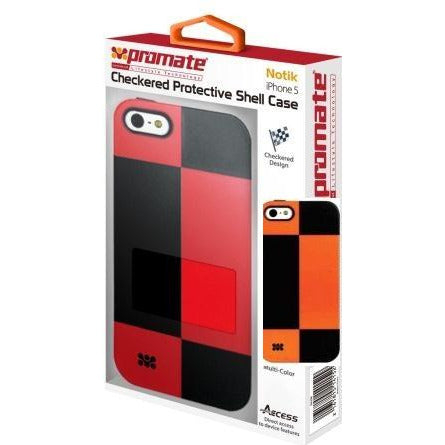 Promate Notik iPhone 5 Checkered Protective Shell Cover Colour: Orange /Black Fashionably aimed, this UniQue checkered design protection case for iPhone 5 / 5s is in a class of its own. Complete with total protection, this cover provides a fresh look for your everyday iPhone 5 / 5s life. Perfect for the user who's lifestyle varies day and night. Total protection without compromising design and style, Notik simply is the case for you., Retail Box , 1 Year Warranty
