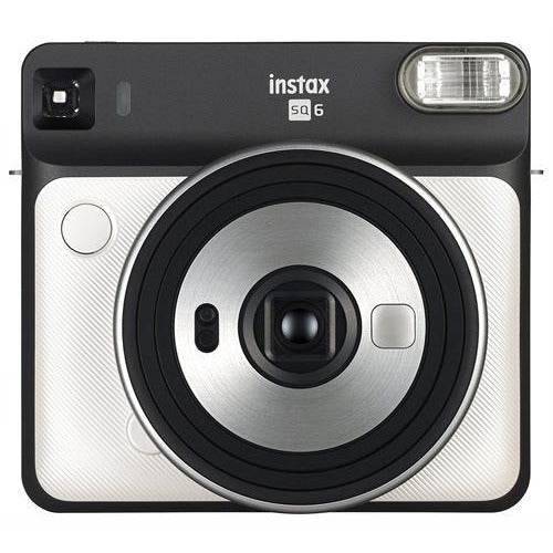 Fujifilm instax SQUARE SQ6 Instant Film Camera - Produces credit card-sized prints, Selfie mirror, Macro Motor-driven lens for close-ups, Auto exposure with manual switching, Built-in flash-Colour: Pearl White, Retail Box , 1 year Limited Warranty