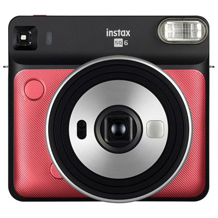 Fujifilm instax SQUARE SQ6 Instant Film Camera - Produces credit card-sized prints, Selfie mirror, Macro Motor-driven lens for close-ups, Auto exposure with manual switching, Built-in flash-Colour: Ruby Red, Retail Box , 1 year Limited Warranty