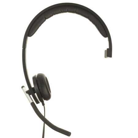 Logitech H650e USB Monaural Headset with flexible Microphone boom -Designed for Business Applications , In-call LED indicator light , Flexible noise-cancelling microphone , Quick-access on-cord controls , Enterprise quality audio , Adjustable earpieces, in-line volume and mute control, padded leatherette headband and ear pads, with cloth zipper bag – USB , Retail Box , 1 year Limit warranty