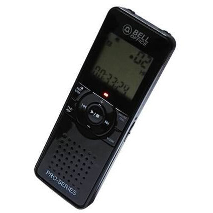 Bell DVR-6006 II Pro Series Digital Voice Recorder - 8GB Internal memory, Light body, No micro sd slot, LCD Display, Voice activated recording, Records all telephone calls, 4 Recording modes (MP3 and WMA file playback), Built-in microphone, Automatic gain control, Clock/Alarm, Requires 2 X AAA Batteries, Retail box, 1 year warranty