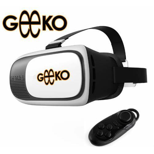 Geeko VR-Box Virtual Reality 3D Glasses with Mini Bluetooth Remote Controller - Supported: Android & iOS smartphone, Screen size from 4.5inch to 6.0 inch , HD Optical Resin Lens , Diameter: 42mm , FOV 70-90 Degrees for immersive 3D Experience, IPD: 58mm ~ 72mm , 360 Degree viewing and motion for full immersion, Retail Box , 1 year Limited Warranty