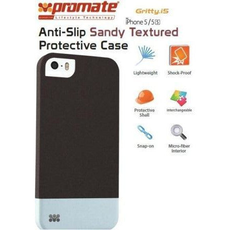 Promate Gritty-i5 iPhone 5 Anti-Slip Sandy finishing protective case for Iphone 5/5s Colour:Black