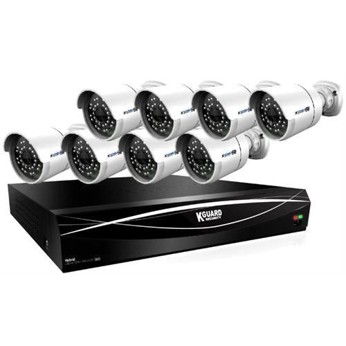 KGuard 16 Channel HD Series + 8 Cameras Combo Kit ( Hybrid DVR Supports 16CH Analoge & 8 CH IP