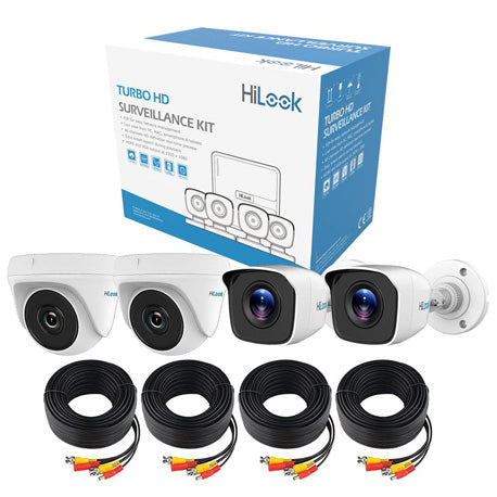 HiLook 4CH Hybrid DVR KIT + 4x 720p Cameras, incl 20m pre-built Rg59 cables - Connectable to Turbo