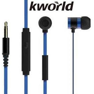 Kworld KW S18 In Ear Mobile Gaming Earphones Stereo Silicone Earbuds with In-line intelligent Control Microphone , 8mm Driver Unit , Sensitivity: 96 ±3 dB/mW , 1.2 metre Soft TPE Flat Cable , 4 Pin 3.5mm Gold Plated Jack – Blue, Retail Box , 1 year Limited Warranty