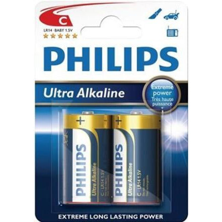 Philips Ultra Alkaline Battery LR14E2B 2 x Type C / LR14 Ultra Alkaline Batteries , 15.V, up to 5 years Shelf Life –ideal for use with high-drain devices such as Music Stereo devices , Remote Control Cars , Children's Toys , Portable Radios -2 Per Pack, Retail Box , No Warranty