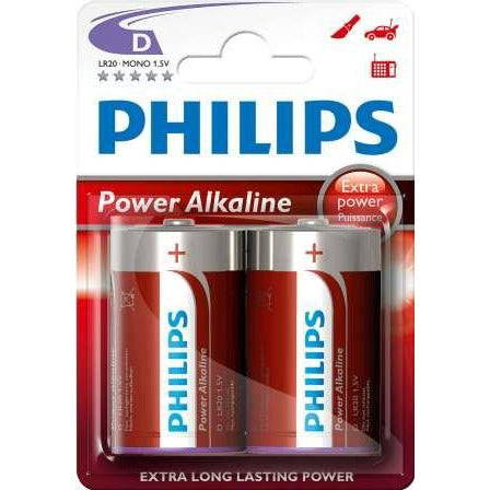 Philips PowerLife Battery LR20P2B 2 X Type D Power Alkaline Batteries , 15.V, up to 5 years Shelf Life –ideal for use with high-drain devices such as Alarms clocks , Wall clocks, Torches, Alarms systems and Remote controls , Stereo Systems - 2 Per Pack, Retail Box , No Warranty