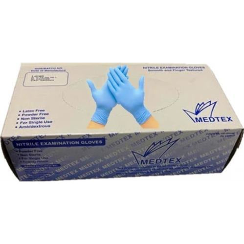 Casey Medtex Examination Powder Free Nitrile Disposable Gloves Box of 100 – Size Medium , Latex Free, Finger textured, Non-sterile, Ambidextrous-Blue Retail Box No Warranty