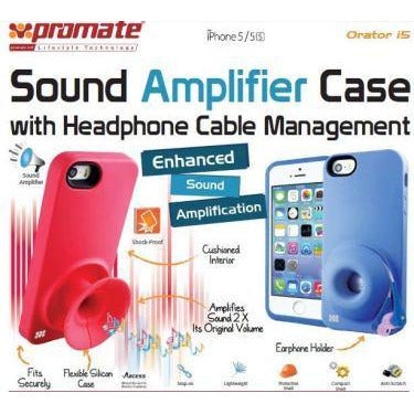 Promate Orator-I5 iPhone 5 Sound Amplifier case for Iphone 5/5s with headphone cable management