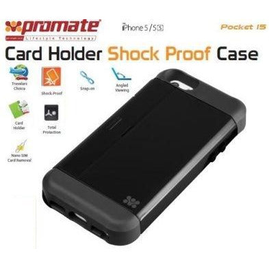 Promate Pocket.i5 iPhone 5 Shock Proof rubberized case with an in built card holder for iPhone 5/5s