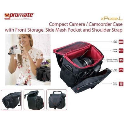 Promate Xpose.L Compact Camera/Camcorder Case with Front Storage, Side Mesh Pocket and Shoulder