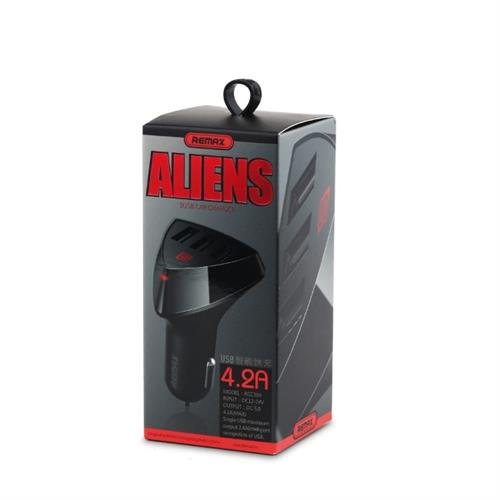 Remax Aliens 3xUSB 1A - 4.2A Car Charger - Black, Retail Box, No Warranty