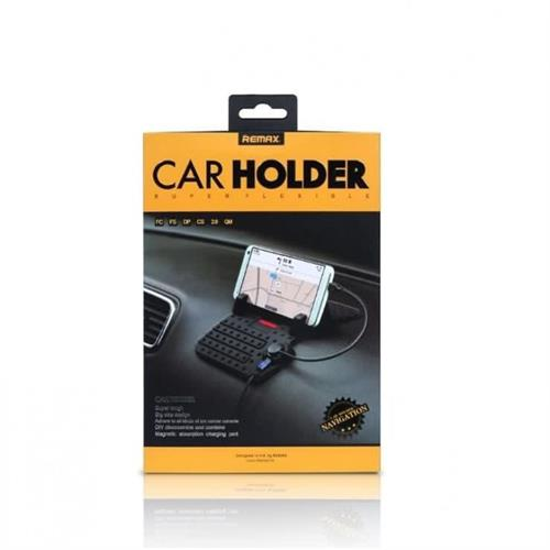 Remax RC-FC1 Portable Silicon Mobile Phone Car Holder With Charger, Retail Box, No Warranty