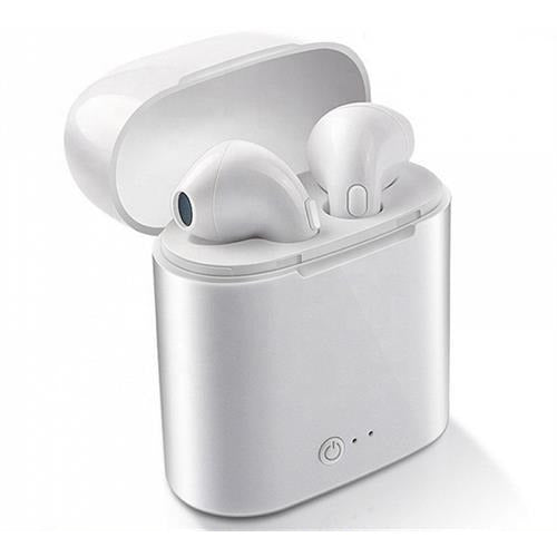 Ezra Siamese True Bluetooth Wireless White EarBuds with White Charging Dock and Microphone - Bluetooth V5+EDR, Up to 10 metres Transmission distance, Talk time: Up to 2 hours, Music Playing time up to 3 Hours, Changing Time: 1-2 Hours, Standby time: 40 hours, Compatible with all Bluetooth-enabled devices, such as iPhone, iPad, Samsung, LG, Nokia, HTC, Tablets-Colour White EarBuds with White Dock, Retail Box , 1 year Limited Warranty