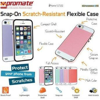Promate Grosso-i5 iPhone 5 Striped Flexi-Grip Snap Case for iPhone 5/5S Colour: Purple Snap-On