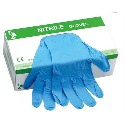 Casey Powder Free Nitrile Disposable Gloves Box of 100 – Size Large, Latex Free, Finger textured, Non-sterile, Ambidextrous Blue Retail Box No Warranty