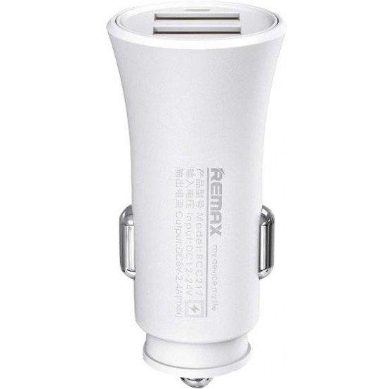 Remax RCC-217 Rocket 2-Port 2.4A USB Car Charger - White, Retail Box, No Warranty