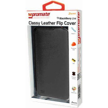 Promate Zemi BlackBerry Z10 Classy Leather Flip Cover Colour:Black The Zemi is a simple but yet