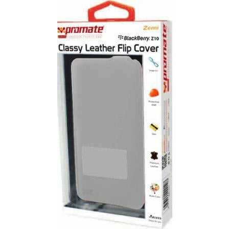 Promate Zemi BlackBerry Z10 Classy Leather Flip Cover Colour:Grey The Zemi is a simple but yet