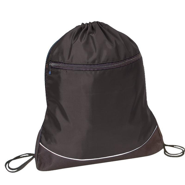 Nylon Drawstring Bag with Zipper Pocket.