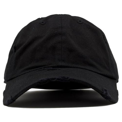 Vintage Dad Hats - Low Profile Unstructured Washed Frayed Cotton Twill Polo BK Caps w/ Brass Buckle Closure