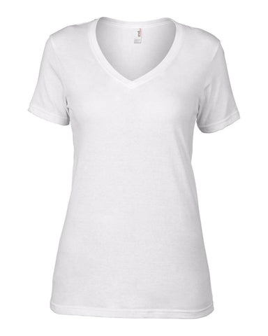 Kajpac Women's Fitted V-Neck White T-shirt