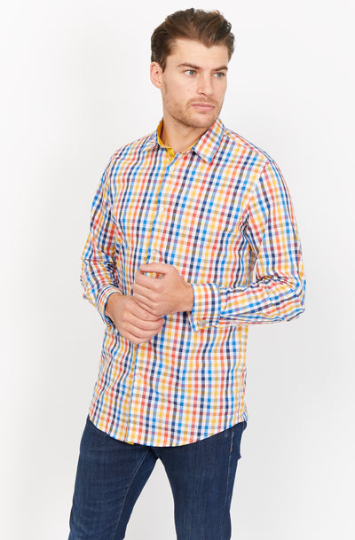 Multicolor Slim Fit Long Sleeve Button Up Dress Shirt