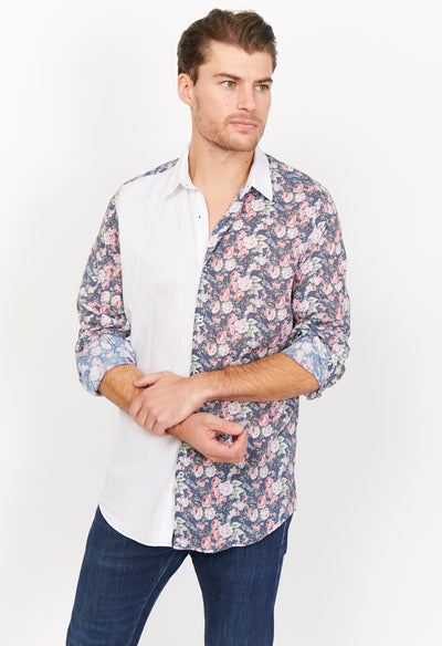 White Pattern Slim Fit Long Sleeve Button Up Dress Shirt