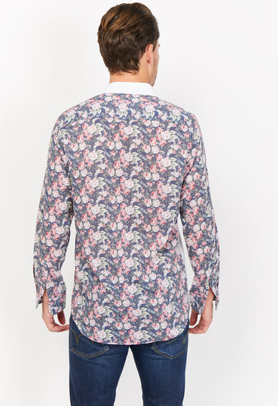 Nolan White Pattern Organic Button Up