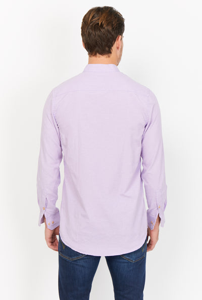 Theodore Purple Mandarin Collar Organic Button Up