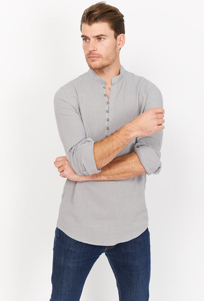 Gray Slim Fit Long Sleeve Button Up Dress Shirt