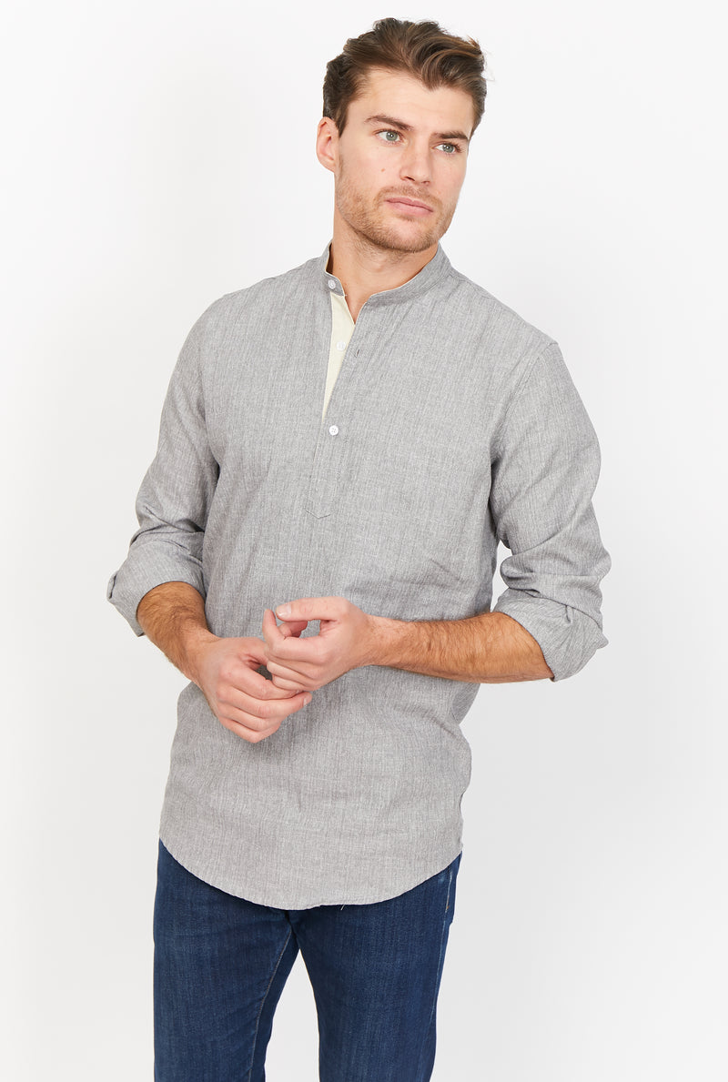 Abel Blue Gray Organic Button Up