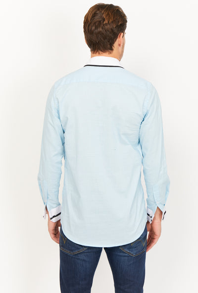 Light Blue Slim Fit Long Sleeve Button Up Dress Shirt