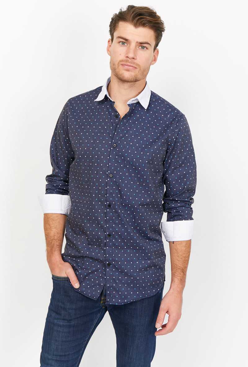 Mattia Navy Organic Button Up