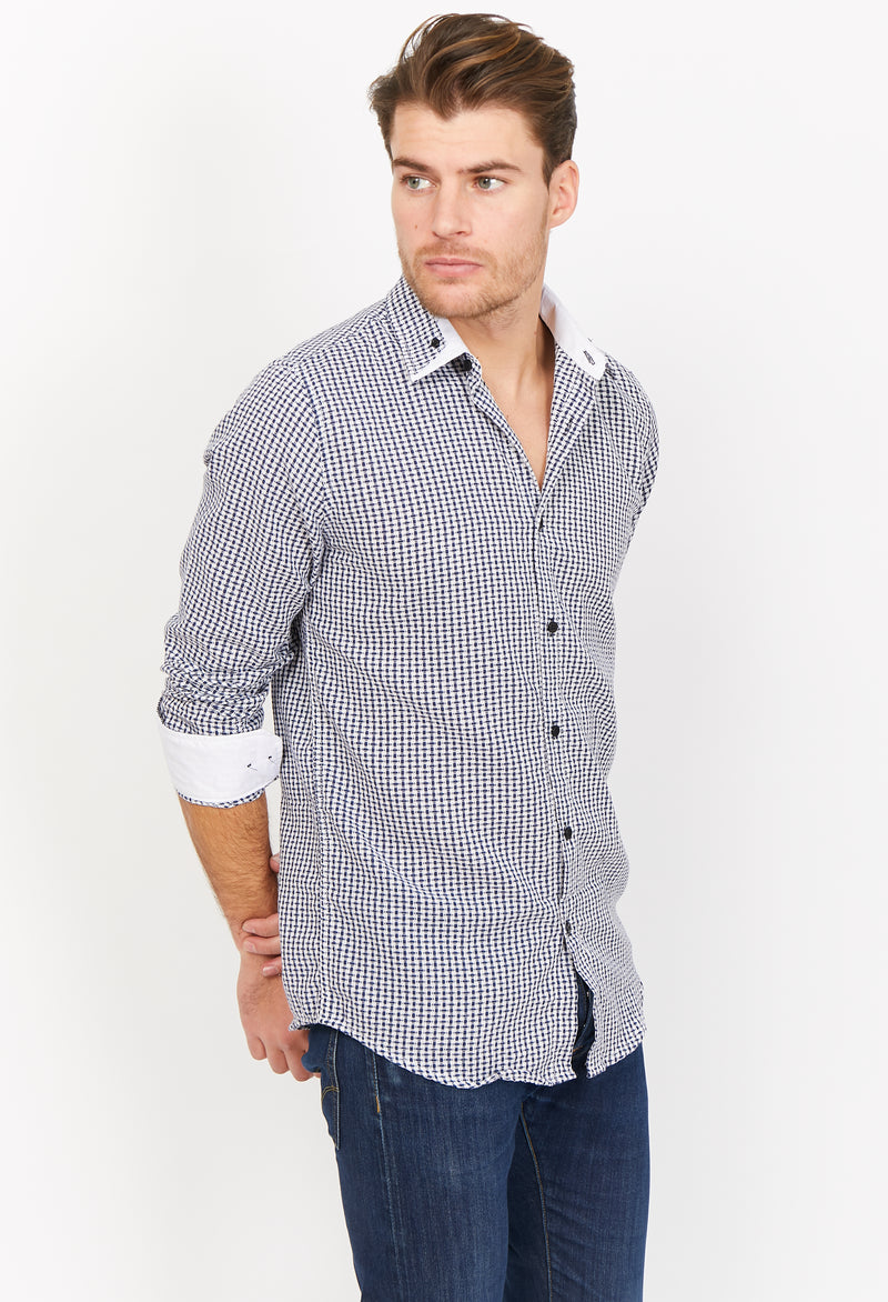 Riccardo Checkered Blue Organic Button Up