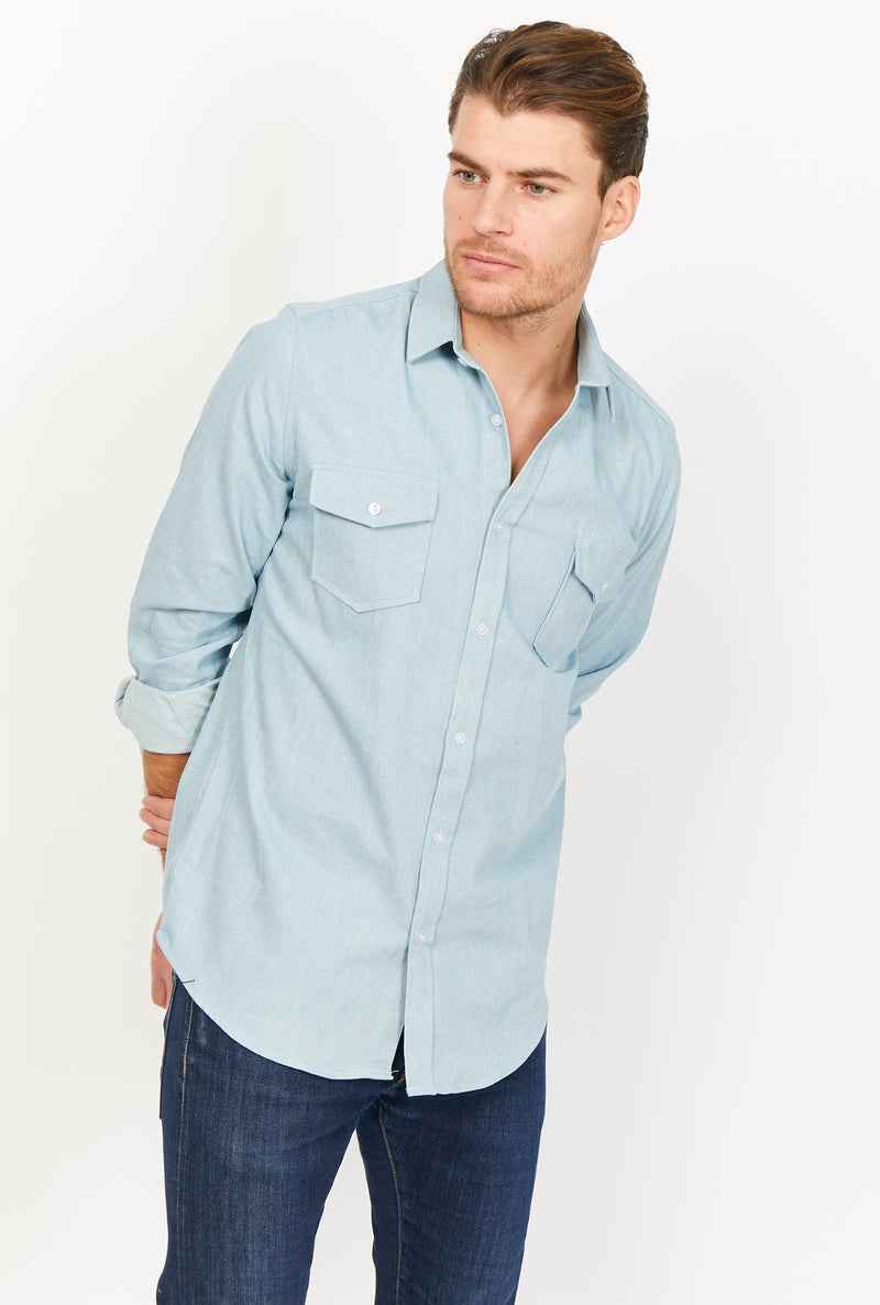 Edoardo Denim Blue Organic Button Up
