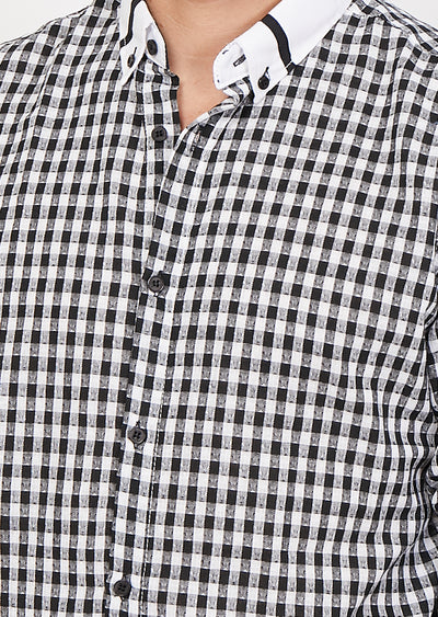 Samuele Black Checkered Organic Button Up