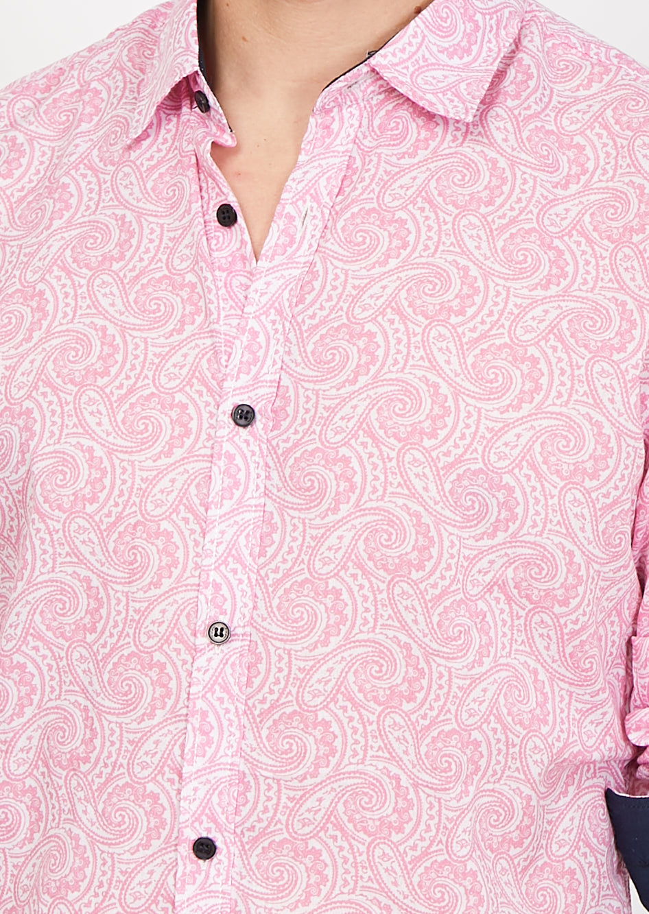 Diego Pink Paisley Organic Button Up