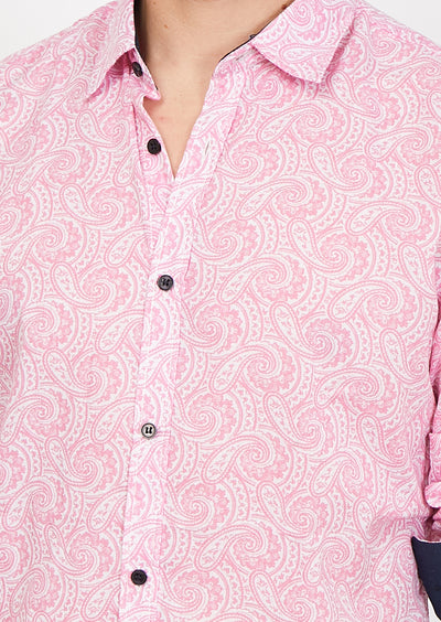 Man Wearing Pink Paisley Button Up Dress Shirt