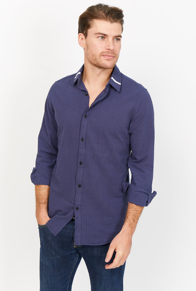 Giovanni Navy Organic Button Up